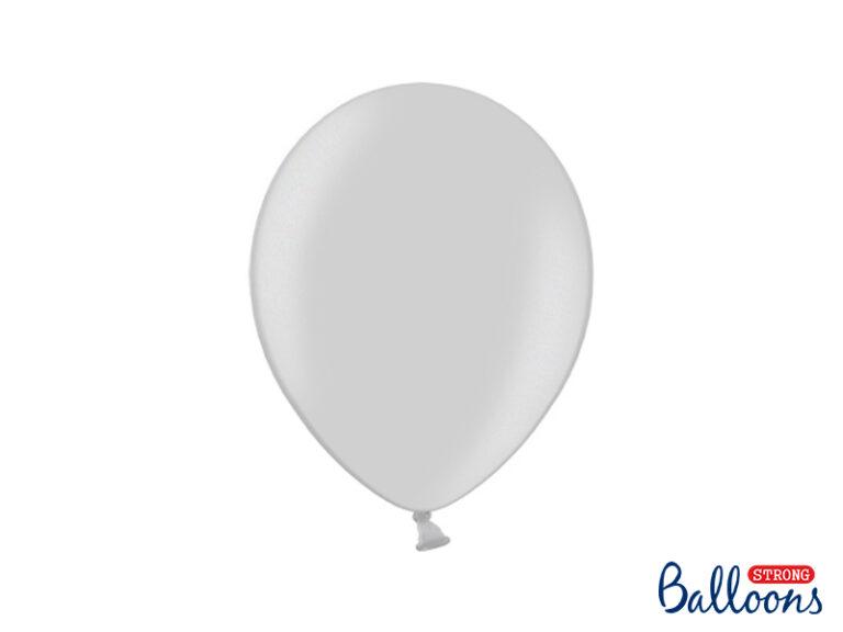 Μπαλόνια Latex Μεταλλικό Ασημί 27εκ – 10 Τεμάχια