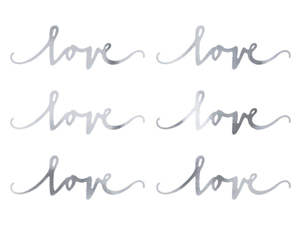 Χάρτινα Foil Διακοσμητικά Love Ασημί – 6 Τεμάχια