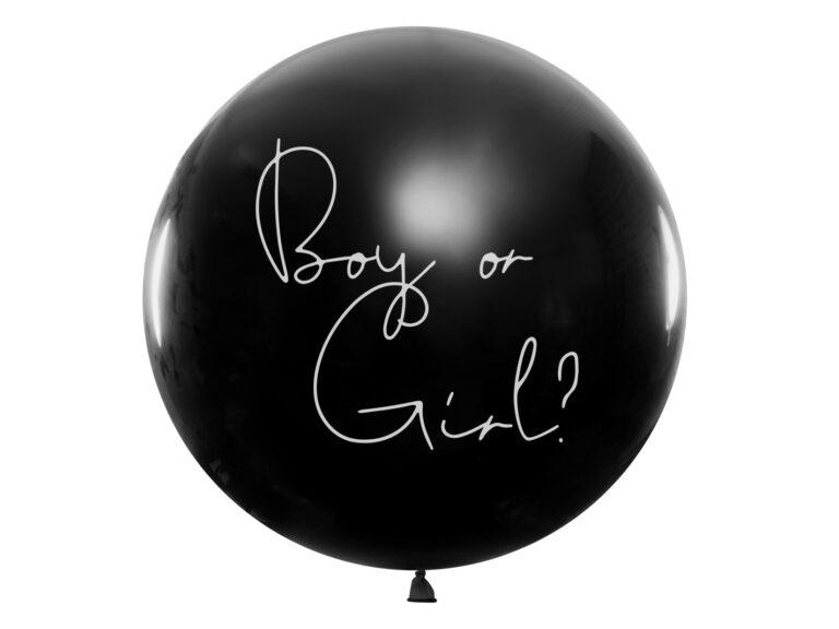 Μπαλόνι Latex Μαύρο Boy or Girl? – Ροζ Κονφετί