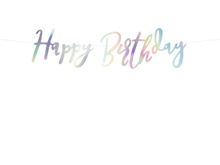 Χάρτινη Γιρλάντα Happy Birthday Ιριδίζουσα