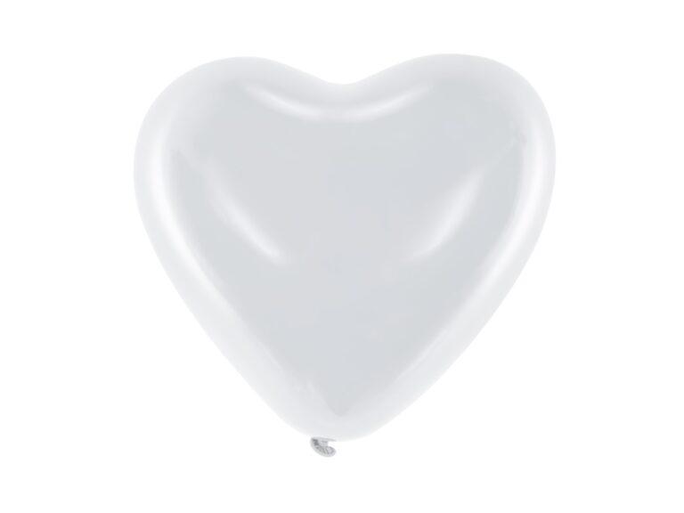 Μπαλόνια Latex Λευκές Καρδιές 25εκ – 6 Τεμάχια