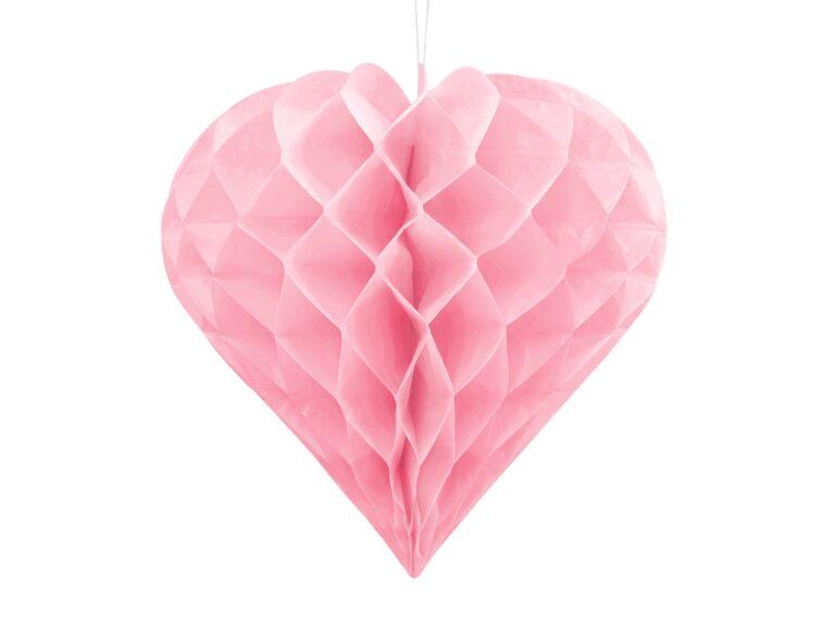 Χάρτινη Διακοσμητική Καρδιά Ροζ 20εκ