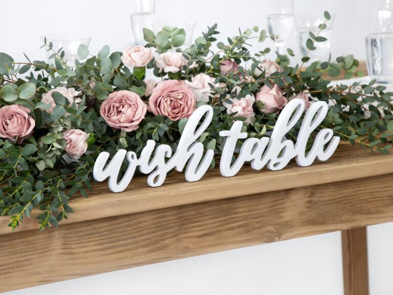 Ξύλινη Eπιγραφή Wish Table Λευκή