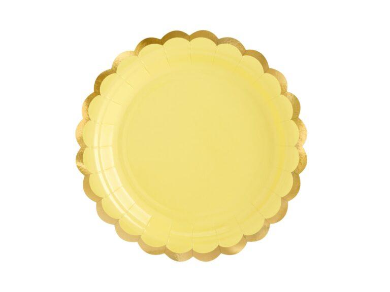 Χάρτινα Πιάτα Κίτρινα με Χρυσό 18εκ – 6 Τεμάχια
