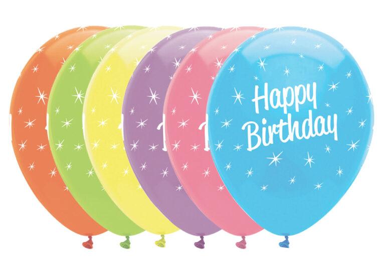 Μπαλόνια Latex Happy Birthday Χρωματιστά 30εκ – 6 Τεμάχια