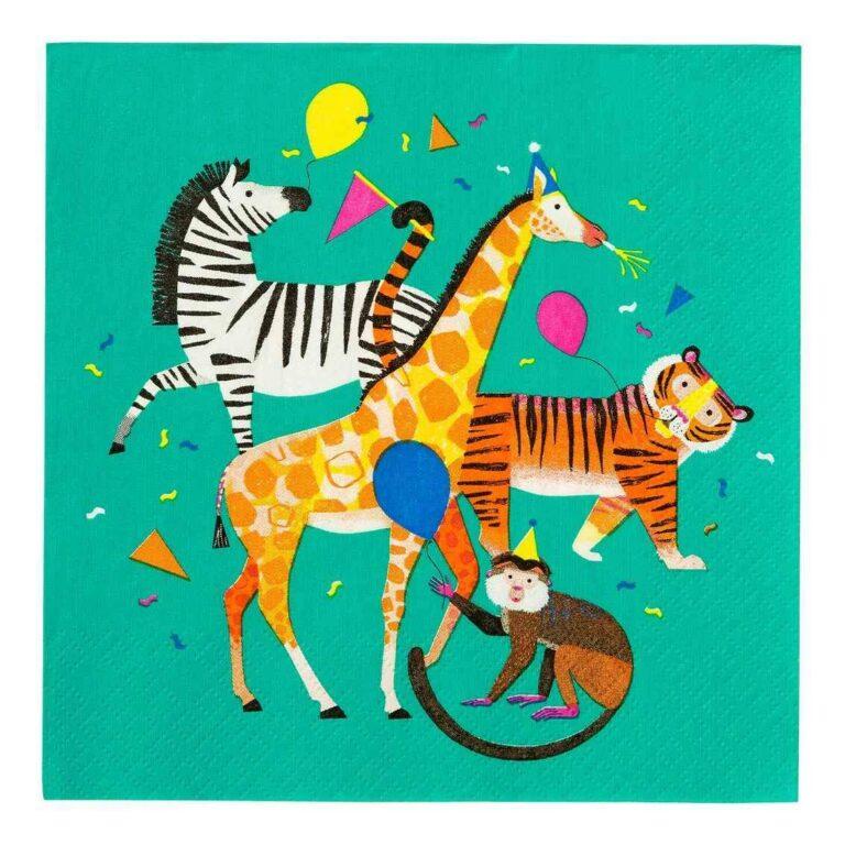 Χαρτοπετσέτες Party Animals 33×33εκ – 20 Τεμάχια