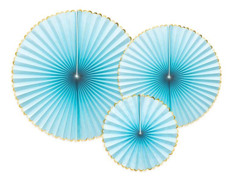 Χάρτινες Βεντάλιες Γαλάζιες με Χρυσό – 3 Τεμάχια