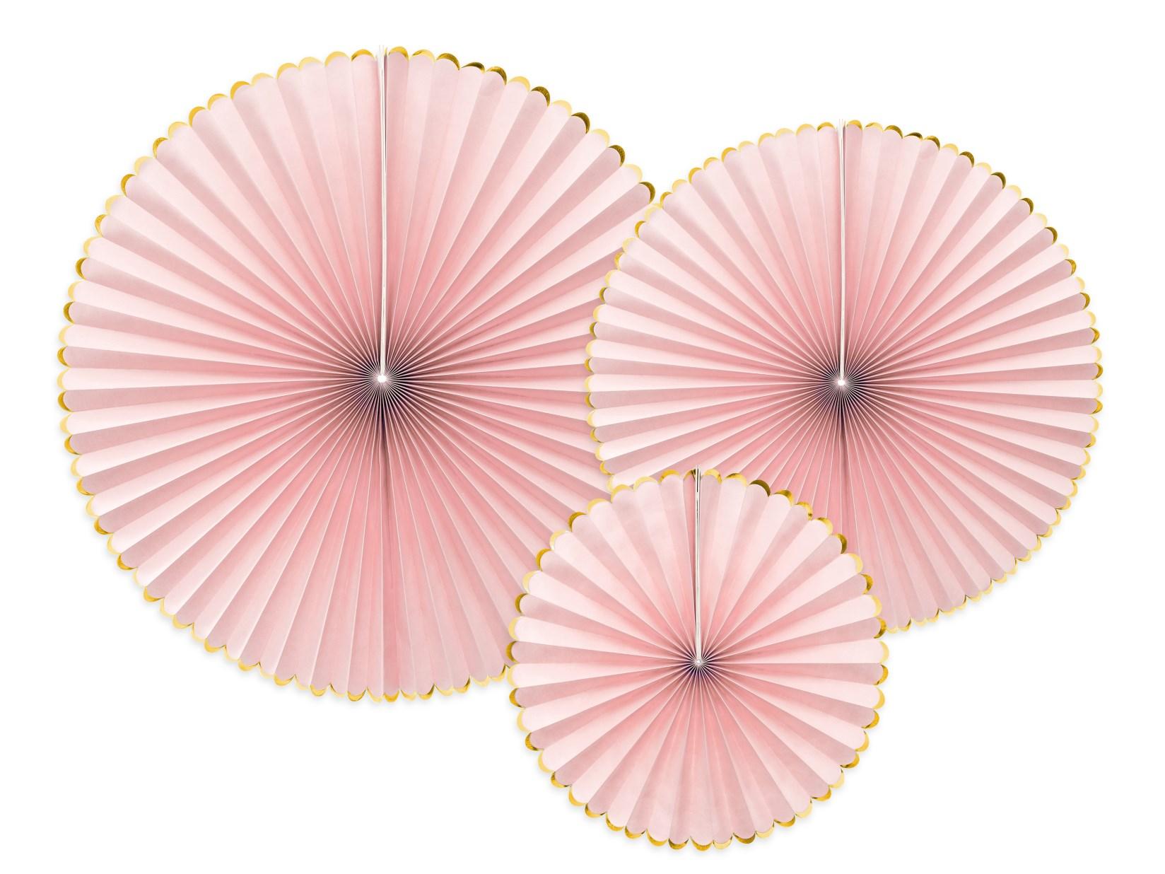 Χάρτινες Βεντάλιες Ροζ με Χρυσό – 3 Τεμάχια