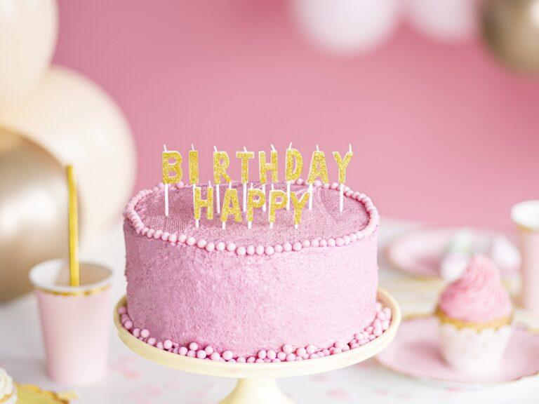 Κεράκια Happy Birthday Χρυσό Γκλίτερ