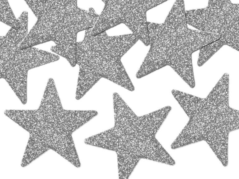 Χάρτινα Ασημί Γκλίτερ Αστεράκια – 8 Τεμάχια