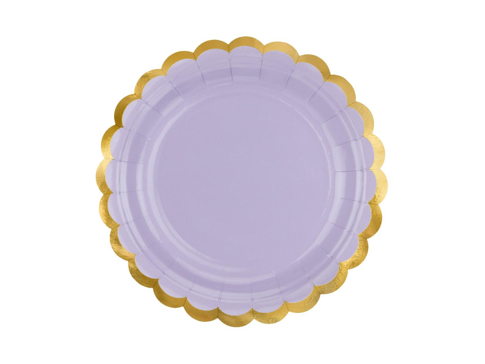 Χάρτινα Πιάτα Λιλά με Χρυσό 18εκ – 6 Τεμάχια