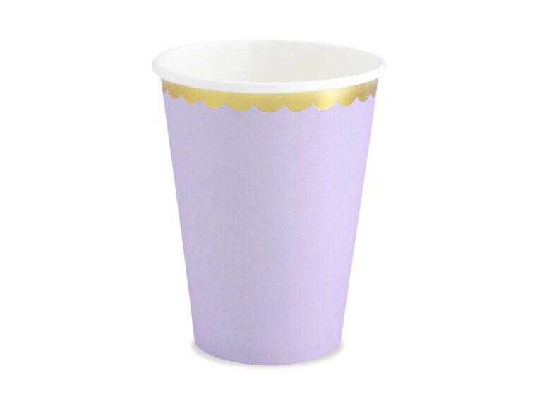 Χάρτινα Ποτήρια Λιλά με Χρυσό 220ml – 6 Τεμάχια
