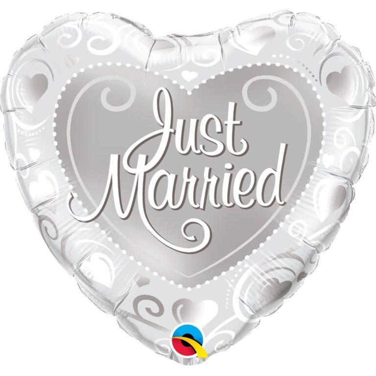 Μπαλόνι Foil Καρδιά Just Married Ασημί 46εκ