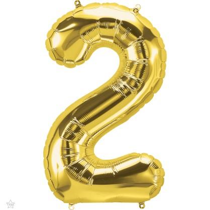 Μπαλόνι Foil Χρυσό Αριθμός Δύο 34εκ