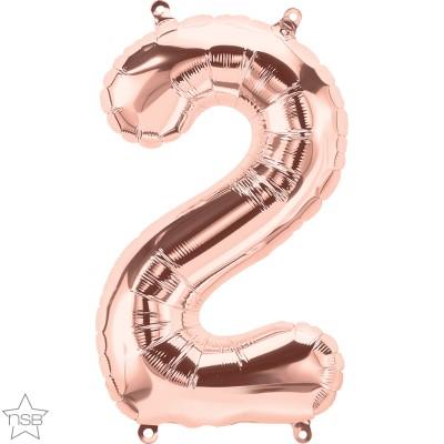 Μπαλόνι Foil Ροζ Χρυσό Αριθμός Δύο 34εκ