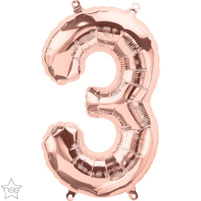 Μπαλόνι Foil Ροζ Χρυσό Αριθμός Τρία 34εκ