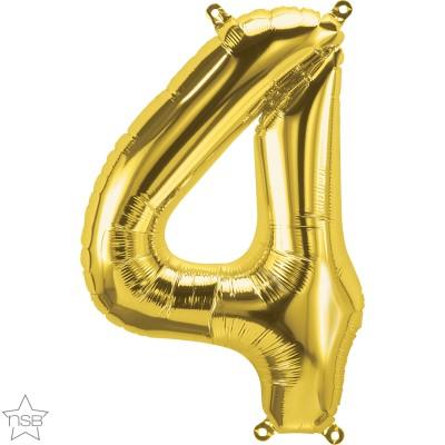 Μπαλόνι Foil Χρυσό Αριθμός Τέσσερα 34εκ