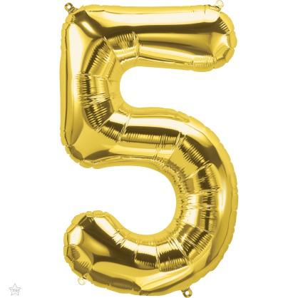 Μπαλόνι Foil Χρυσό Αριθμός Πέντε 34εκ