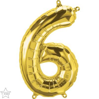 Μπαλόνι Foil Χρυσό Αριθμός Έξι 34εκ