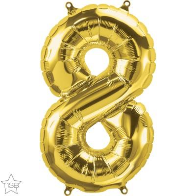 Μπαλόνι Foil Χρυσό Αριθμός Οκτώ 34εκ