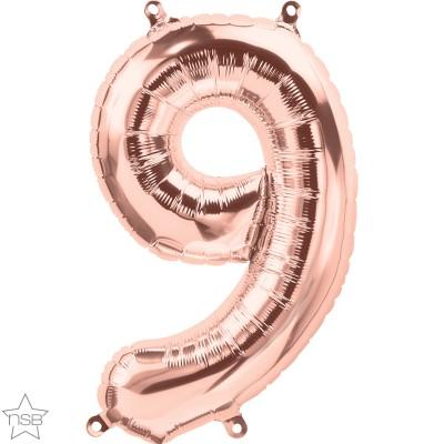 Μπαλόνι Foil Ροζ Χρυσό Αριθμός Εννιά 34εκ