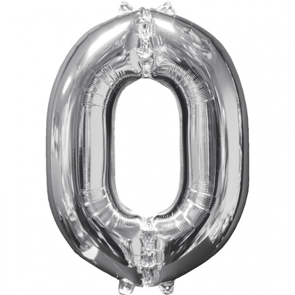 Μπαλόνι Foil Ασημί Αριθμός Μήδεν 66εκ