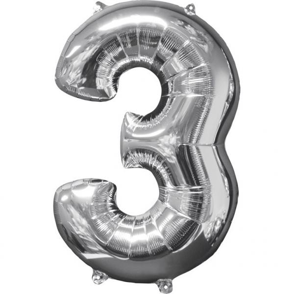 Μπαλόνι Foil Ασημί Αριθμός Τρία 66εκ