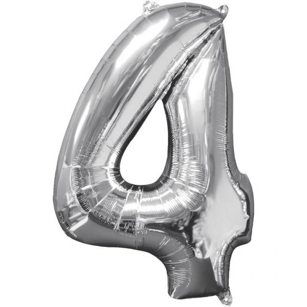 Μπαλόνι Foil Ασημί Αριθμός Τέσσερα 66εκ