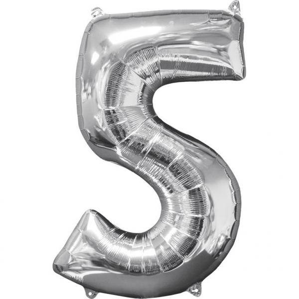 Μπαλόνι Foil Ασημί Αριθμός Πέντε 66εκ