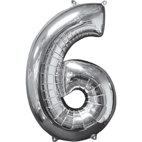 Μπαλόνι Foil Ασημί Αριθμός Έξι 66εκ