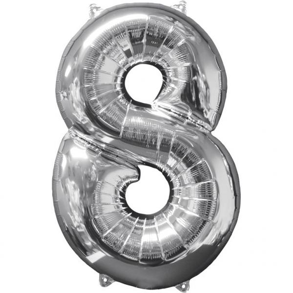 Μπαλόνι Foil Ασημί Αριθμός Οκτώ 66εκ