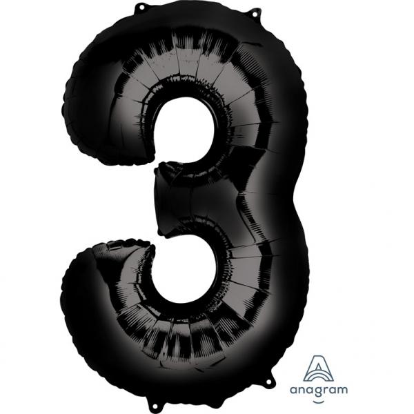 Μπαλόνι Foil Μαύρο Αριθμός Τρία 86εκ