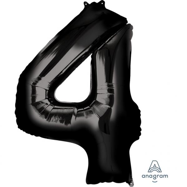 Μπαλόνι Foil Μαύρο Αριθμός Τέσσερα 91εκ