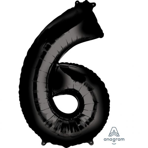Μπαλόνι Foil Μαύρο Αριθμός Έξι 86εκ