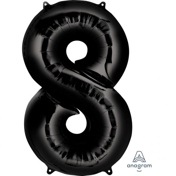 Μπαλόνι Foil Μαύρο Αριθμός Οκτώ 86εκ