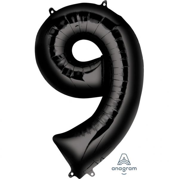 Μπαλόνι Foil Μαύρο Αριθμός Εννιά 86εκ