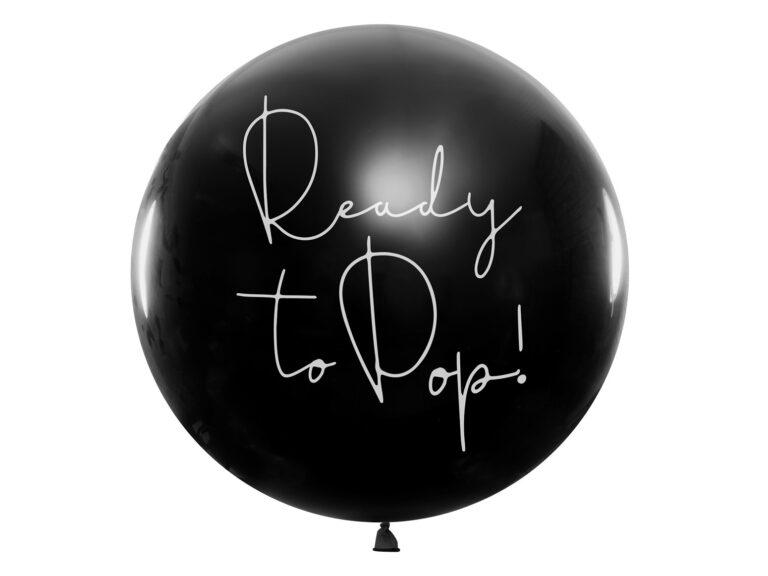 Μπαλόνι Latex Μαύρο Ready to Pop! – Ροζ Κονφετί