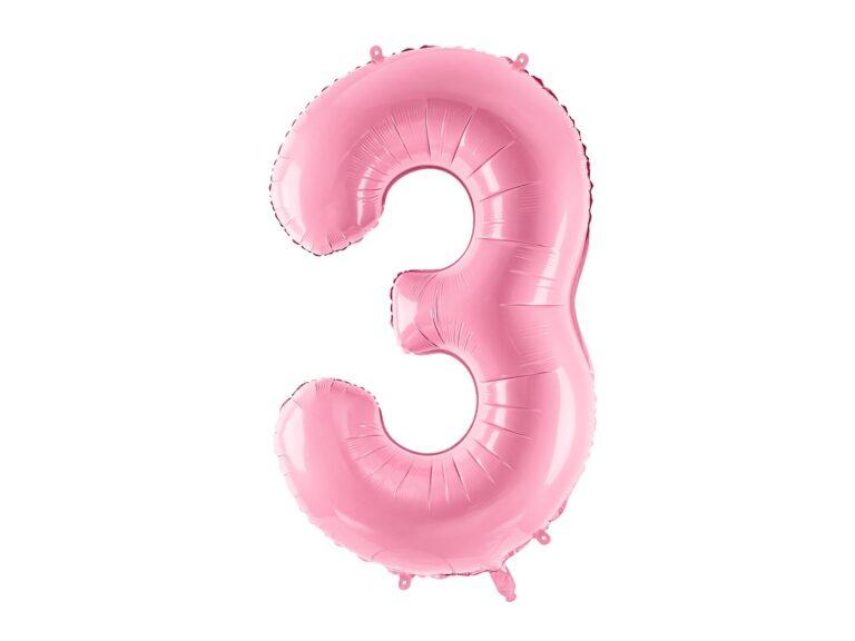 Μπαλόνι Foil Ροζ Αριθμός Τρία 86εκ