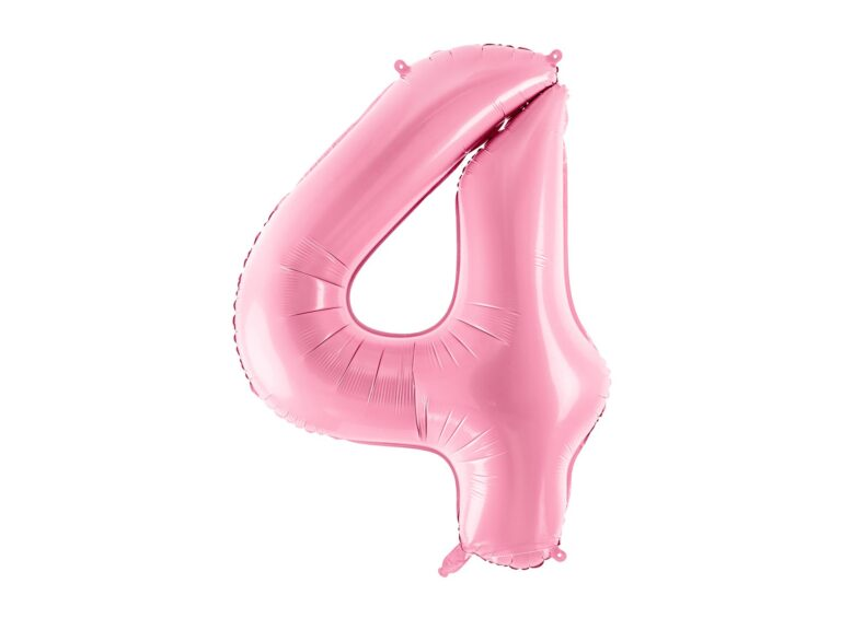 Μπαλόνι Foil Ροζ Αριθμός Τέσσερα 86εκ