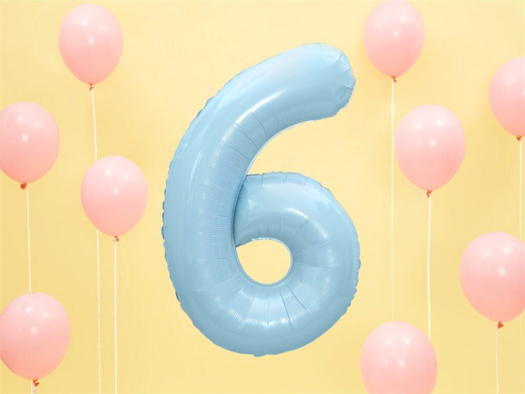 Μπαλόνι Foil Γαλάζιο Αριθμός Έξι 86εκ