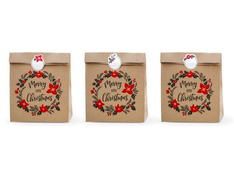Χάρτινα Σακουλάκια Δώρων Merry Christmas – 3 Τεμάχια