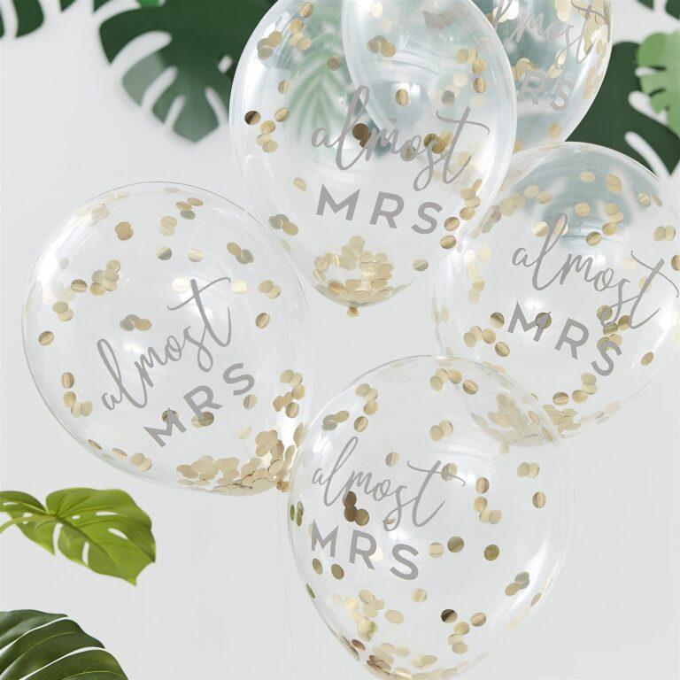 Μπαλόνια Latex Almost Mrs με Χρυσά Κονφετί – 5 Τεμάχια