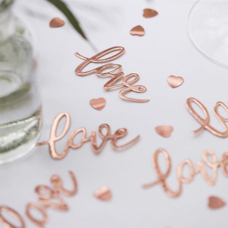 Κονφετί Love Ροζ Χρυσό με Καρδούλες – 13 Γραμμάρια