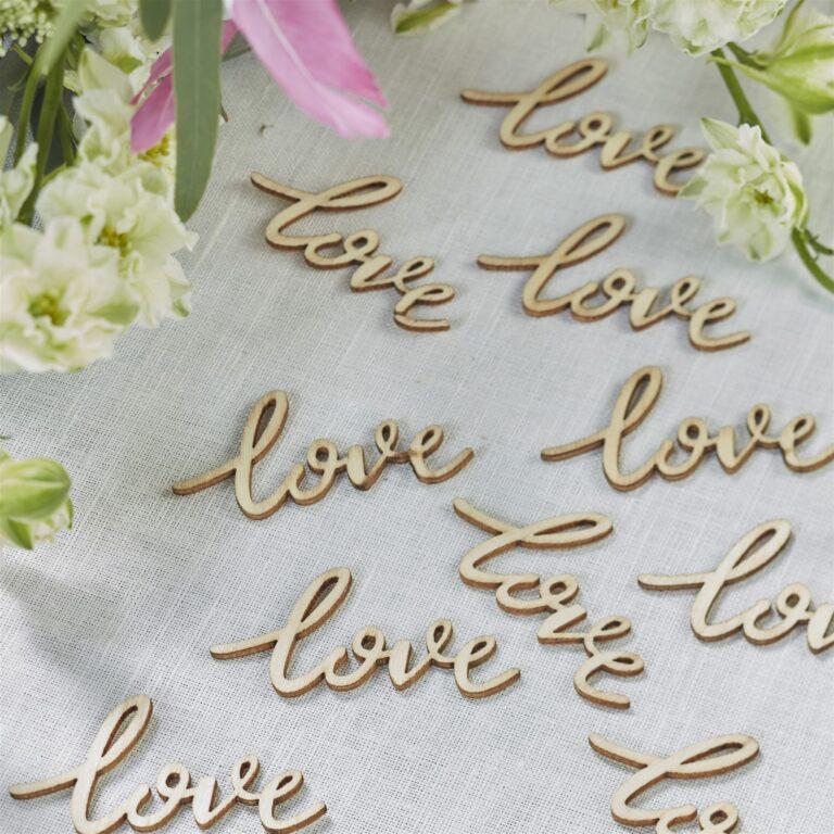 Κονφετί Love Ξύλινο – 25 Τεμάχια