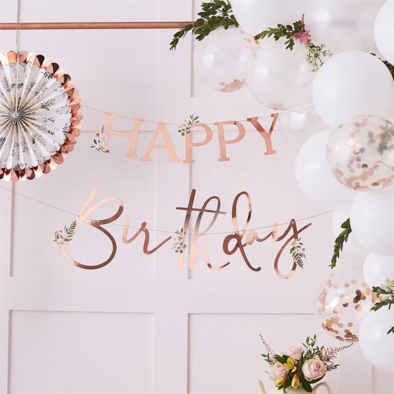 Χάρτινη Γιρλάντα Happy Birthday Ροζ Χρυσό με Λουλούδια