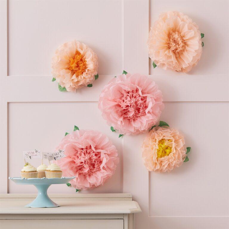 Σετ Χάρτινα Διακοσμητικά Λουλούδια – 5 Τεμάχια