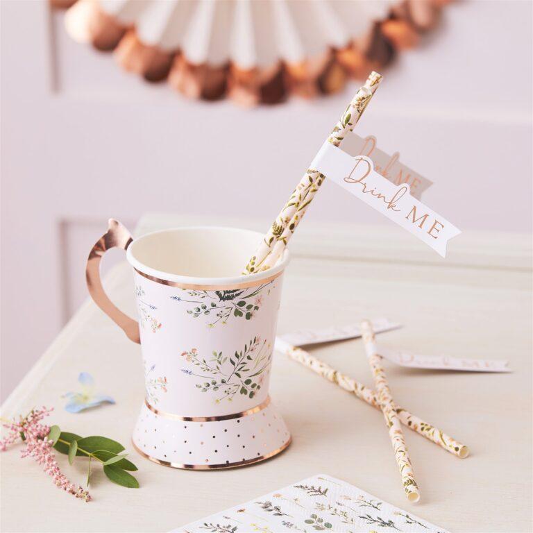 Χάρτινα Καλαμάκια Floral Tea Time – 20 Τεμάχια