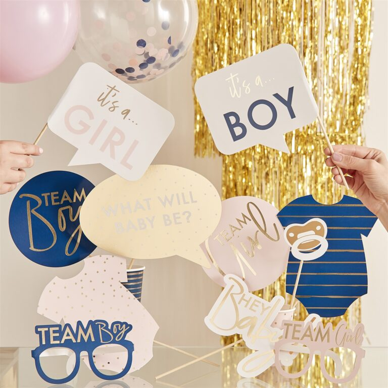 Photo Booth Props Gender Reveal Pink or Blue – 10 Τεμάχια