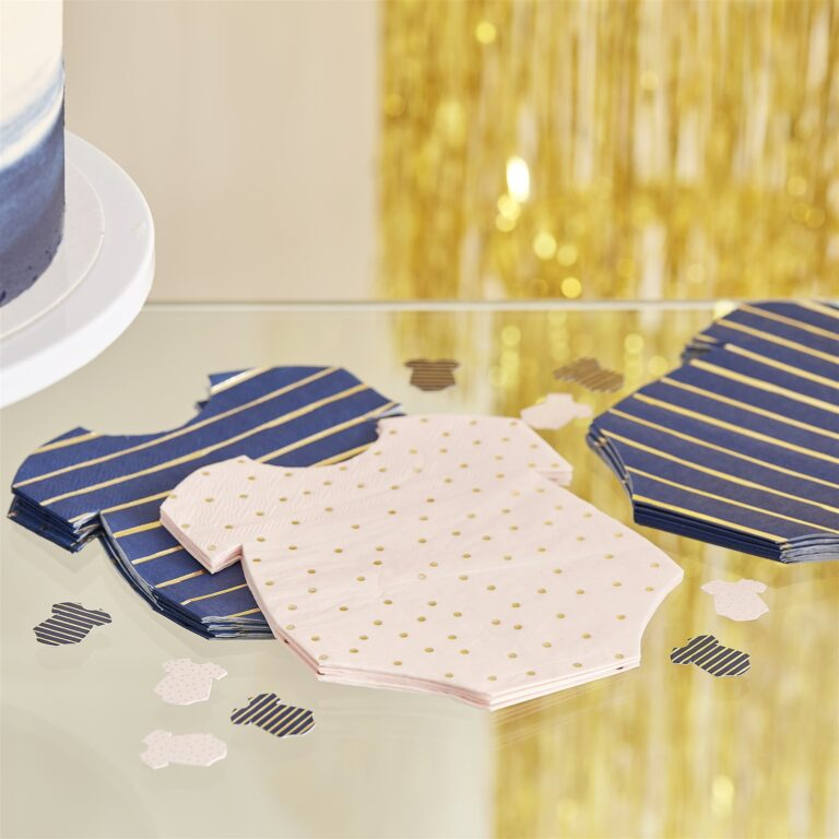 Χαρτοπετσέτες Φορμάκια Ροζ Πουά & Μπλε Ριγέ 12×16εκ – 16 Τεμάχια