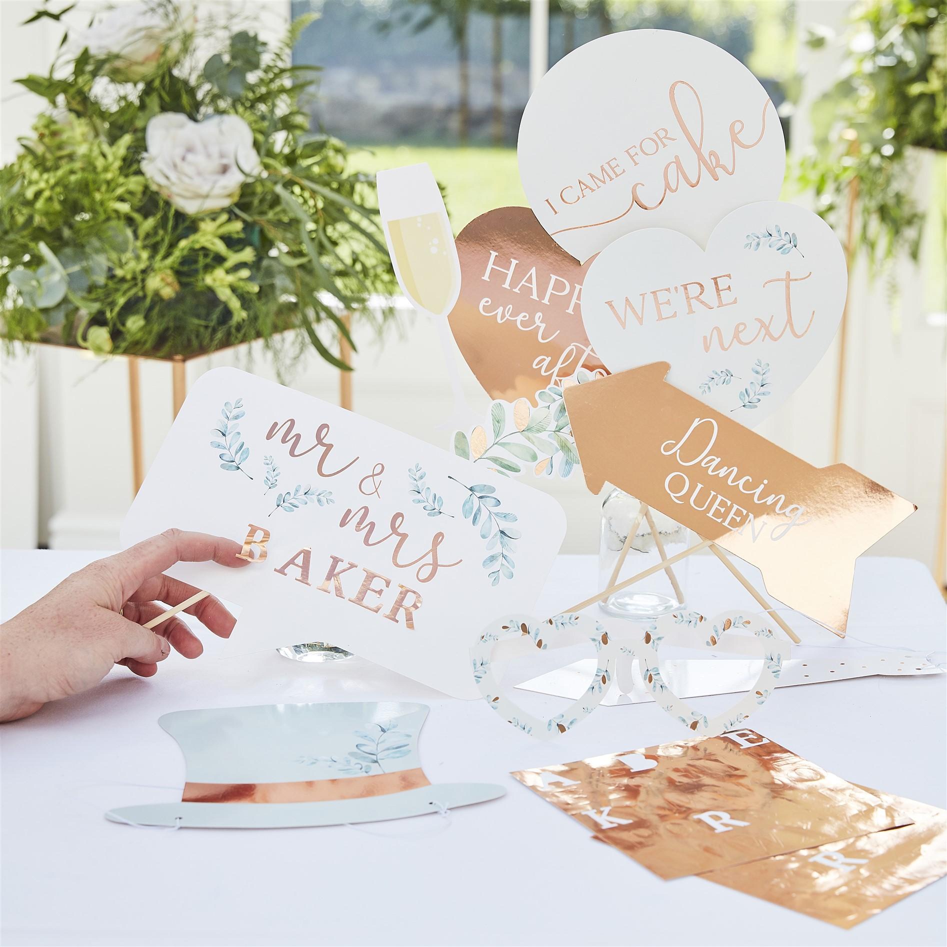 Photo Booth Props Rose Gold Wedding Προσωποποιημένα – 10 Τεμάχια